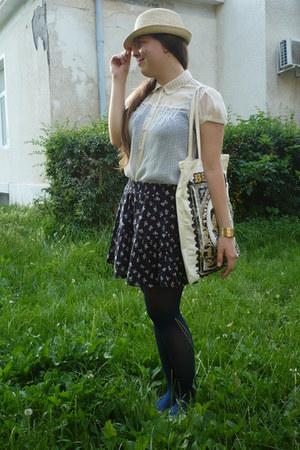 one cent Bershka bag - random hat - Pimkie skirt - Atmoshpere blouse