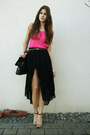 Black-bag-hot-pink-shirt-black-asymmetric-skirt