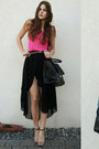 Hot-pink-shirt-black-bag-black-asymmetric-skirt