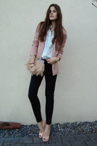 light pink blazer - light blue shirt - light pink heels - gold necklace