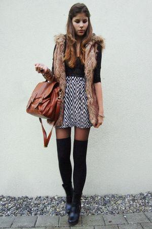 black socks - brown bag