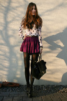 light pink heart H&M shirt - black lita Jeffrey Campbell boots - black bag