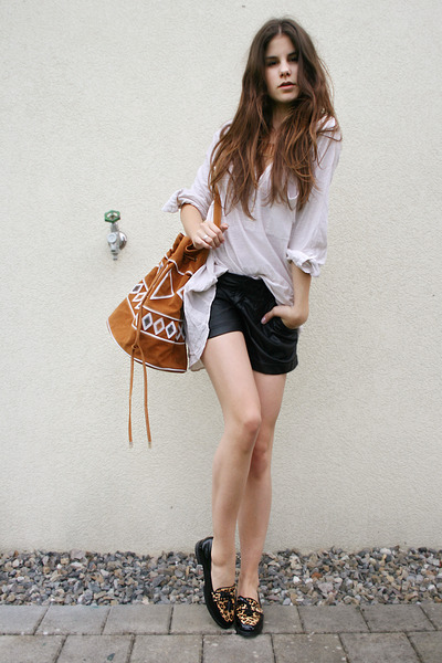 aztec bag - black leather shorts - leo loafers