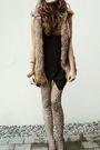 Black-shirt-brown-vest-tights-black-shoes