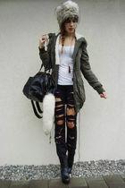 green jacket - black boots - black DIY jeans - gray hat - white shirt