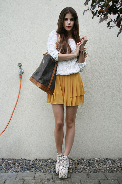 white rose top - white crochet Jeffrey Campbell boots - mustard shorts