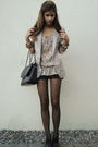 Black-tights-black-shorts-silver-blazer-white-bag-blouse