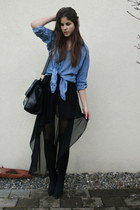 blue denim H&M shirt - black bag - black maxi skirt