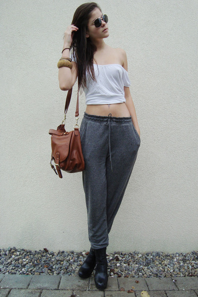 white shirt - black shoes - brown bag - silver jogger pants