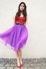 Purple-midi-skirt