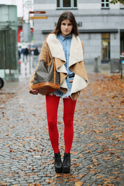 lita Jeffrey Campbell boots - jacket - denim H&M shirt - red tights