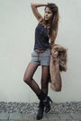 Black-boots-black-tights-black-socks-gray-shorts-green-top-brown-vest