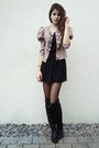 Black-dress-black-tights-black-boots-pink-jacket