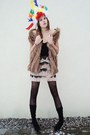 Brown-vest-black-tights-light-pink-dress
