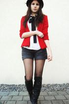 red blazer - white bowtie shirt - black leather shorts