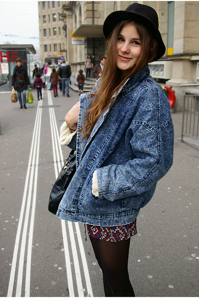 blue jeans jacket - romper - black bunny flats