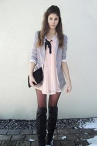 dress - over knee boots - blazer