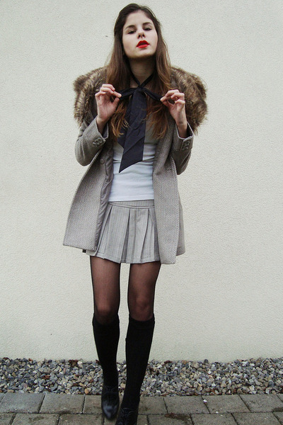 ivory shirt - beige coat - beige skirt - black tights - black socks - black shoe