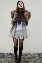 ivory shirt - beige coat - beige skirt - black tights - black socks - black shoe