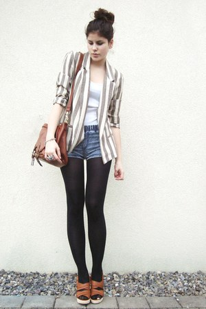 striped Coal N Terry Vintage blazer - tawny bag - blue shorts - tawny wedges