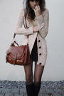 Black-tights-black-socks-black-shoes-beige-cardigan-gray-bag-hat