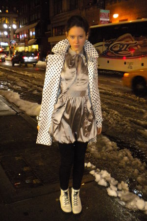 white Gracia coat - beige Gracia dress - black H&M leggings - white H&M shoes