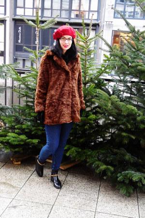 brown fake fur Zara coat