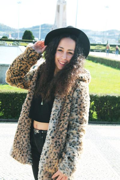 black Bershka jeans - camel romwe jacket - black black crop top Topshop top