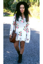 white flower jumper romwe jumper - black black hat H&M hat - brown Zara bag
