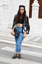 black romwe jacket - blue Fashion Union blouse