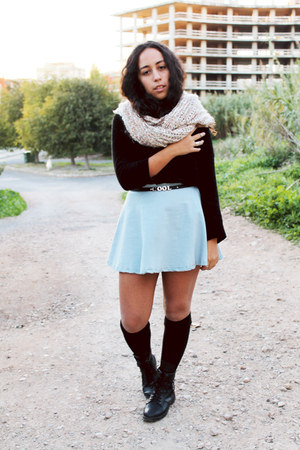 black black knit Zara sweater - eggshell Zara scarf - light blue aupie skirt