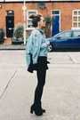 Black-zara-boots-blue-vintage-jacket-black-urban-outfitters-sunglasses