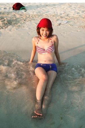 red landmark swimwear - blue random store swimwear - red sm department store hat
