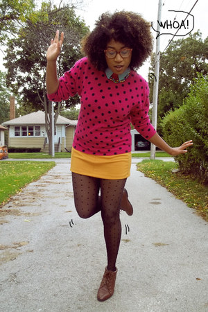 hot pink polka dots thrifted vintage sweater - dark brown thrifted vintage boots