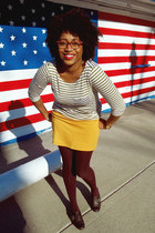 white sailor stripe madewell top - maroon JC Penny tights