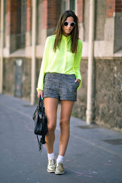 neon colour Zara blouse - grey Zara shorts - sparkly H&M sneakers