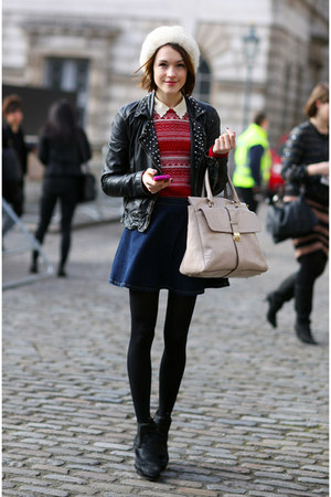 Zara bag - leather H&M jacket - basic H&M tights - denim Zara skirt
