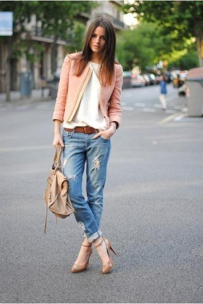 Beige Leather Bags, Sky Blue Denim Jeans, Light Pink ...
