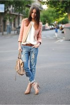 beige leather bag - sky blue denim jeans - light pink jacket - white basic shirt