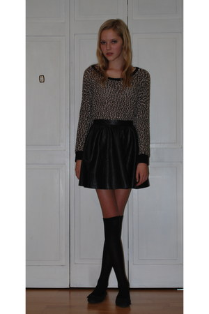 leather H&M skirt - knit Forever 21 sweater - knee-highs Target socks