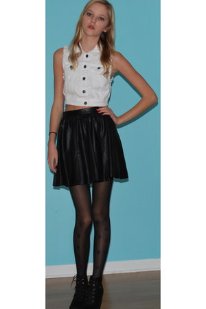 leather H&amp;M skirt - denim Forever 21 vest