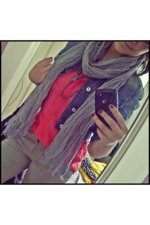 tan pull&bear jeans - jacket - bubble gum Stradivarius shirt - silver scarf