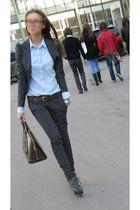 gray H&M jacket - orange LV belt - gray Zara pants