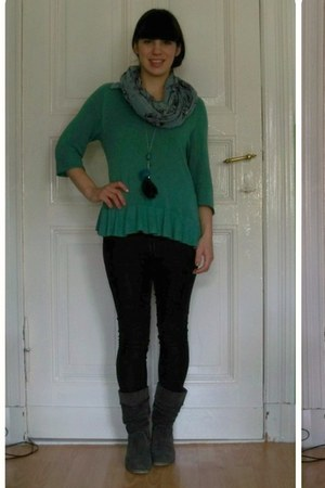 teal H&M sweater - gray bonita boots - dark gray Vero Moda jeans
