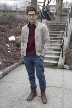 beige Chevignon jacket - maroon H&M jumper - navy Topman pants