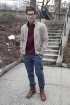beige Chevignon jacket - maroon H&M jumper - navy Topman pants