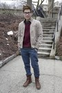 Beige-chevignon-jacket-maroon-h-m-jumper-navy-topman-pants