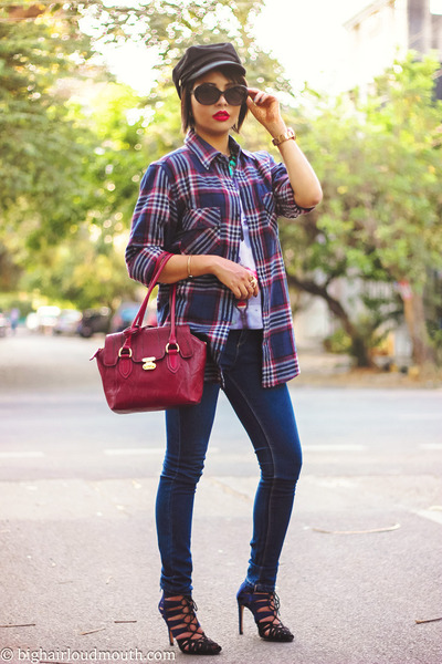 Choies t-shirt - Sheinside coat - choiescom hat - Bossini shirt - Zara heels