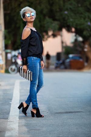 black Forever New shoes - blue giant vintage sunglasses