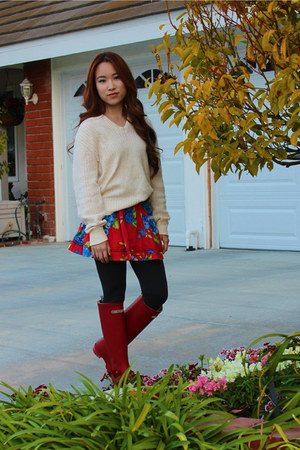 rain boots Henri Bendel boots - beige vintage sweater - Forever 21 tights